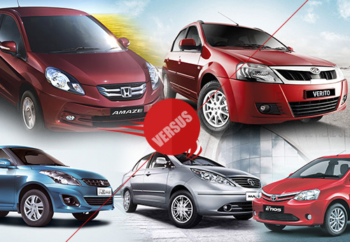 Comparison of 5 best sedan in india below 10 lac.