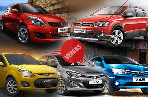 India's Best Premium Hatchback - i20 vs Swift vs Figo vs Etios Liva vs Polo (cross)