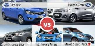Tata Zest vs Hyundai Xcent vs Toyota Etios vs Maruti Suzuki Dzire vs Honda Amaze