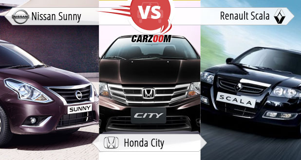Nissan Sunny vs Honda City vs Renault Scala