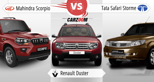 Mahindra Scorpio vs Renault Duster vs Tata Safari Storme