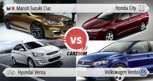 Maruti Ciaz vs Honda city vs Hyundai Verna vs Volkswagen Vento