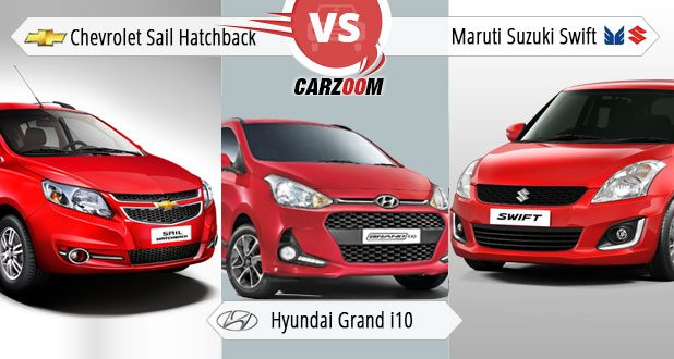 Comparison of Sail Hatchback vs Hyundai Grand i10 vs Maruti Suzuki refresh Swift