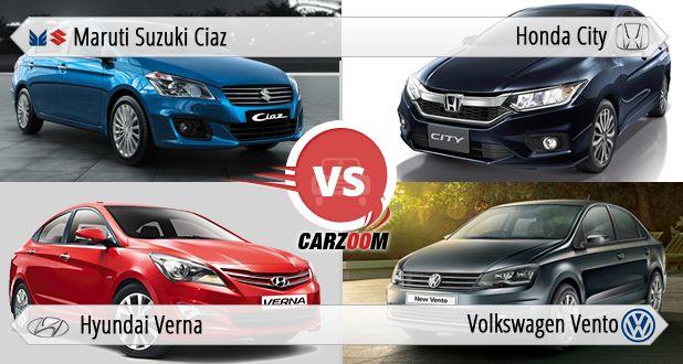 Comparison of Volkswagen new Vento vs Maruti Ciaz vs Honda City vs New Hyundai 4S Fluidic Verna
