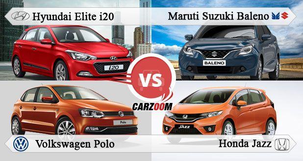 Maruti Suzuki Baleno vs Hyundai Elite i20 vs Honda Jazz vs Volkswagen Polo