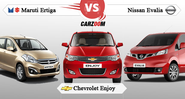 Maruti Suzuki Ertiga vs Chevrolet Enjoy vs Nissan Evalia