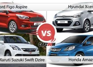 Ford Figo Aspire vs Hyundai Xcent vs Maruti Suzuki Swift Dzire vs Honda Amaze