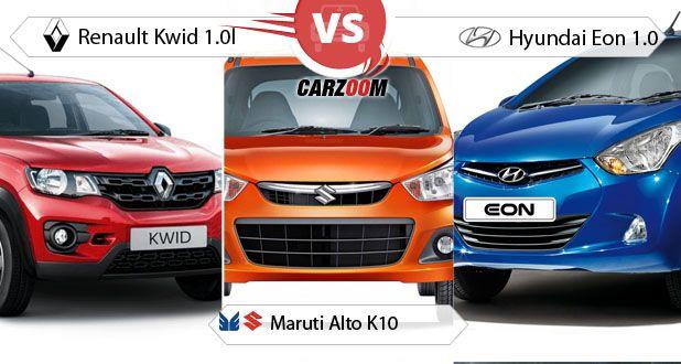 Renault Kwid 1.0l vs Maruti Alto K10 vs Hyundai Eon 1.0